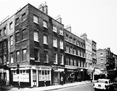 37 and 38 (1781) and 39-41 (1743) Frith Street 1964.jpg